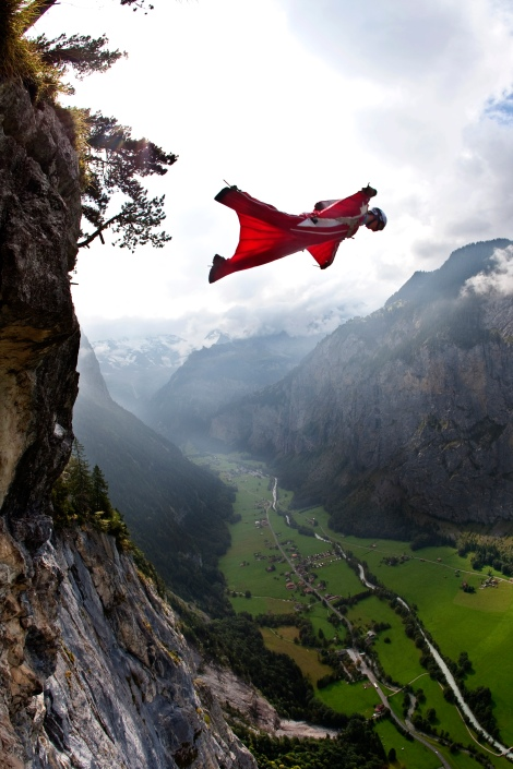 Athlete: Anniken Binz Description: Base Jumping in Lauterbrunnen, Switzerland