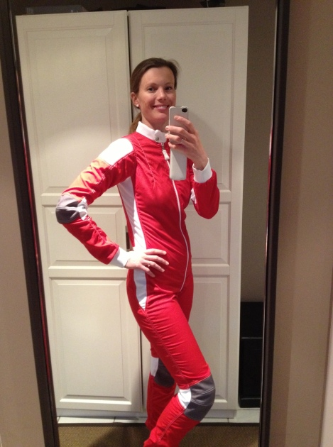 Trying on my new Boogieman suit!