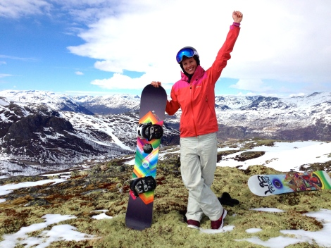 Happy camper on top of the mountain, some bare spots but still good conditions