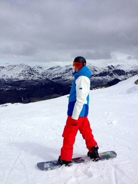 My husband is happy to be on his snowboard