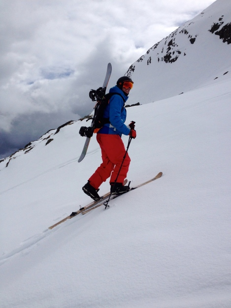 Testing out our new MtApproach system. Foldable skis with an integrated back pack system