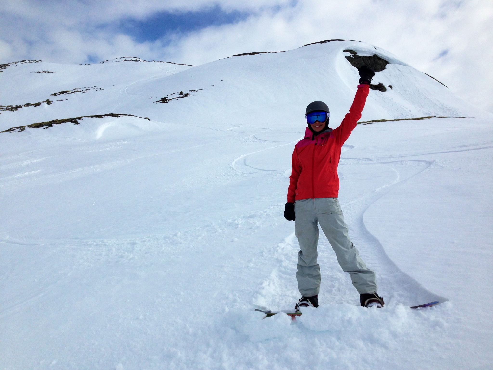 Fresh snow in mid May! Having fun with my husband last weekend.