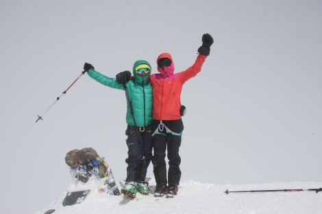The summit with no view- just to happy girls