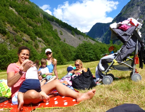 Charlotte, Karina and me with kids in Gudvangen watching the base jumping