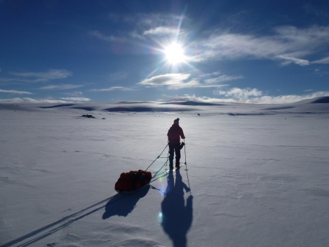 KJersti Eide, skiing, pulk, Hardangervidda