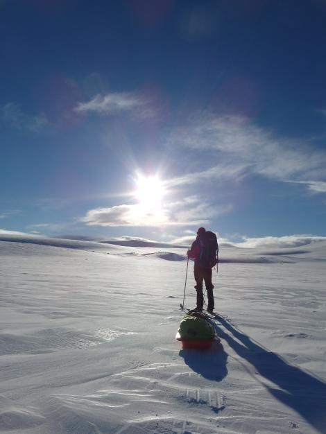skiing, sun, winter, pulk, Anniken Binz